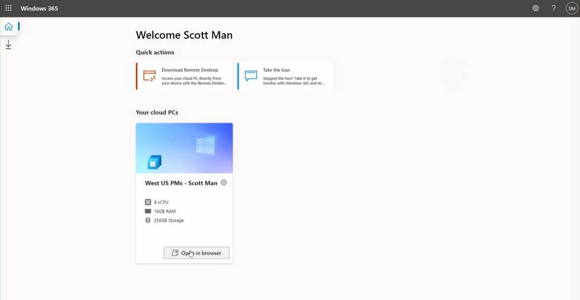 Windows 365 Startseite